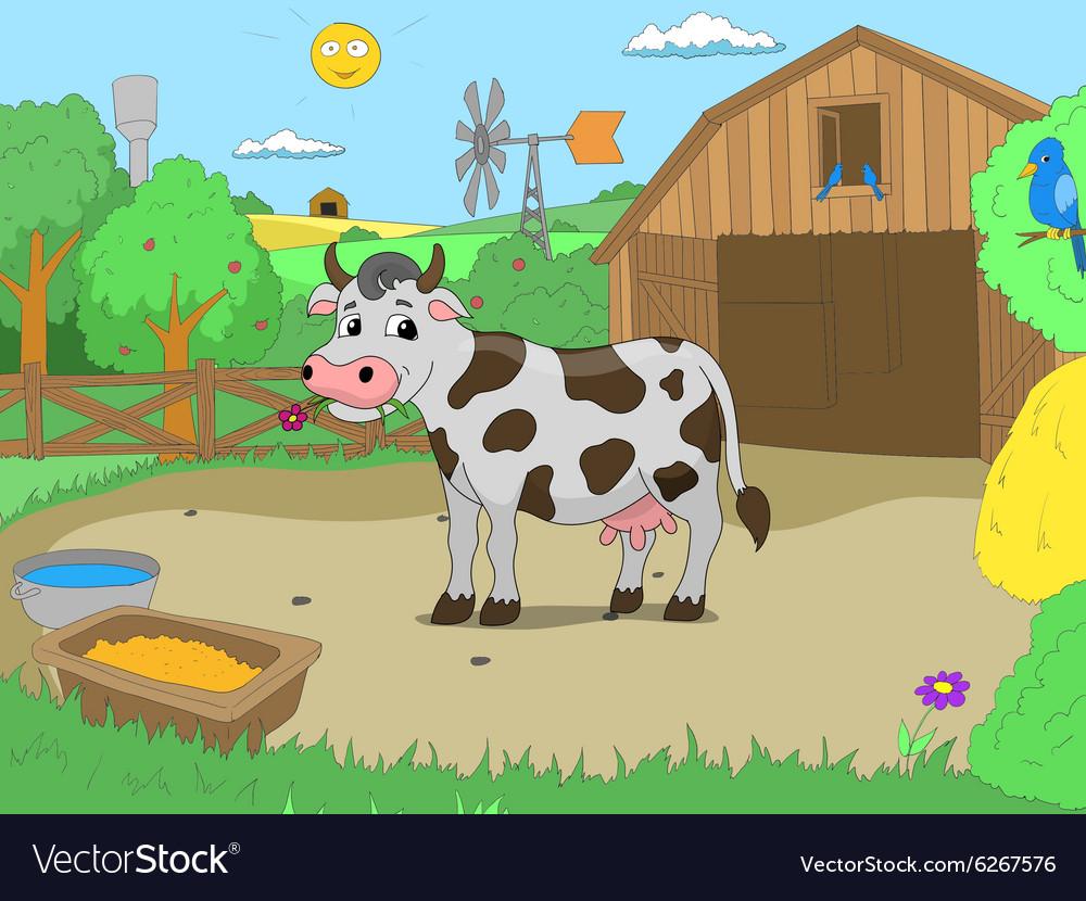 Cartoon cow in farm color book children vector image