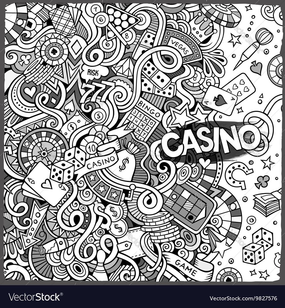 Cartoon hand-drawn doodles casino gambling