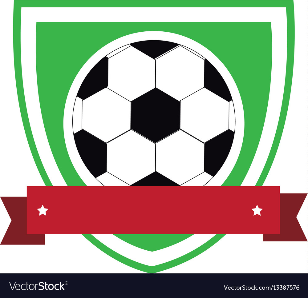 Colorful shield with ribbon with soccer ball