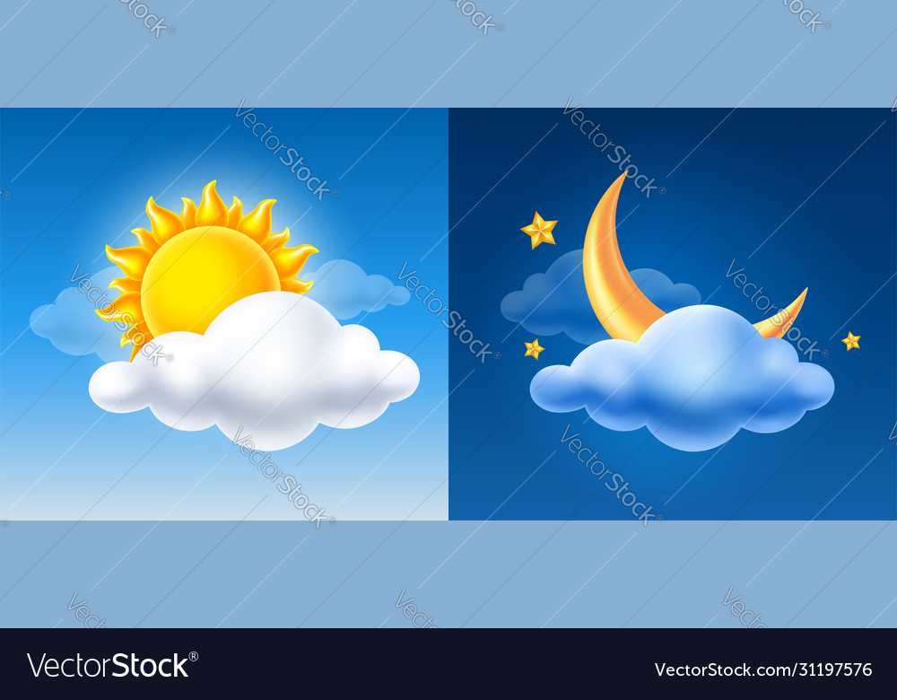 Day and night sky with sun half moon and cloud
