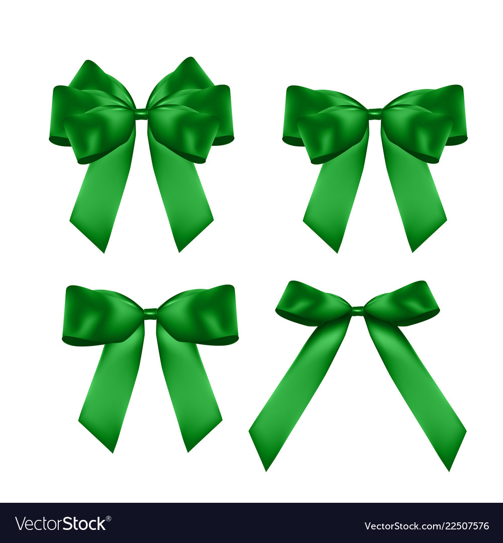 Decorative green bow collection set 3d realistic
