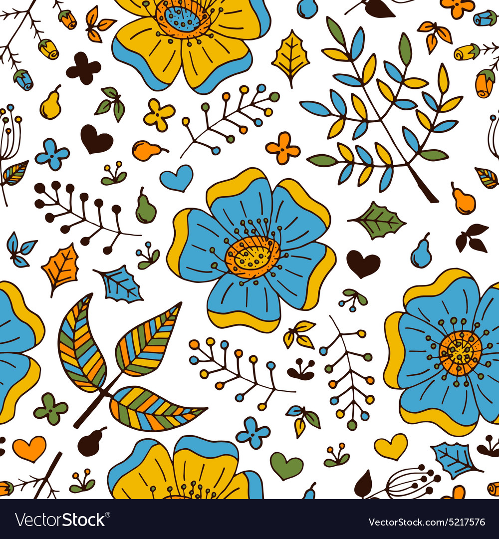 Floral seamless pattern with doodle elements