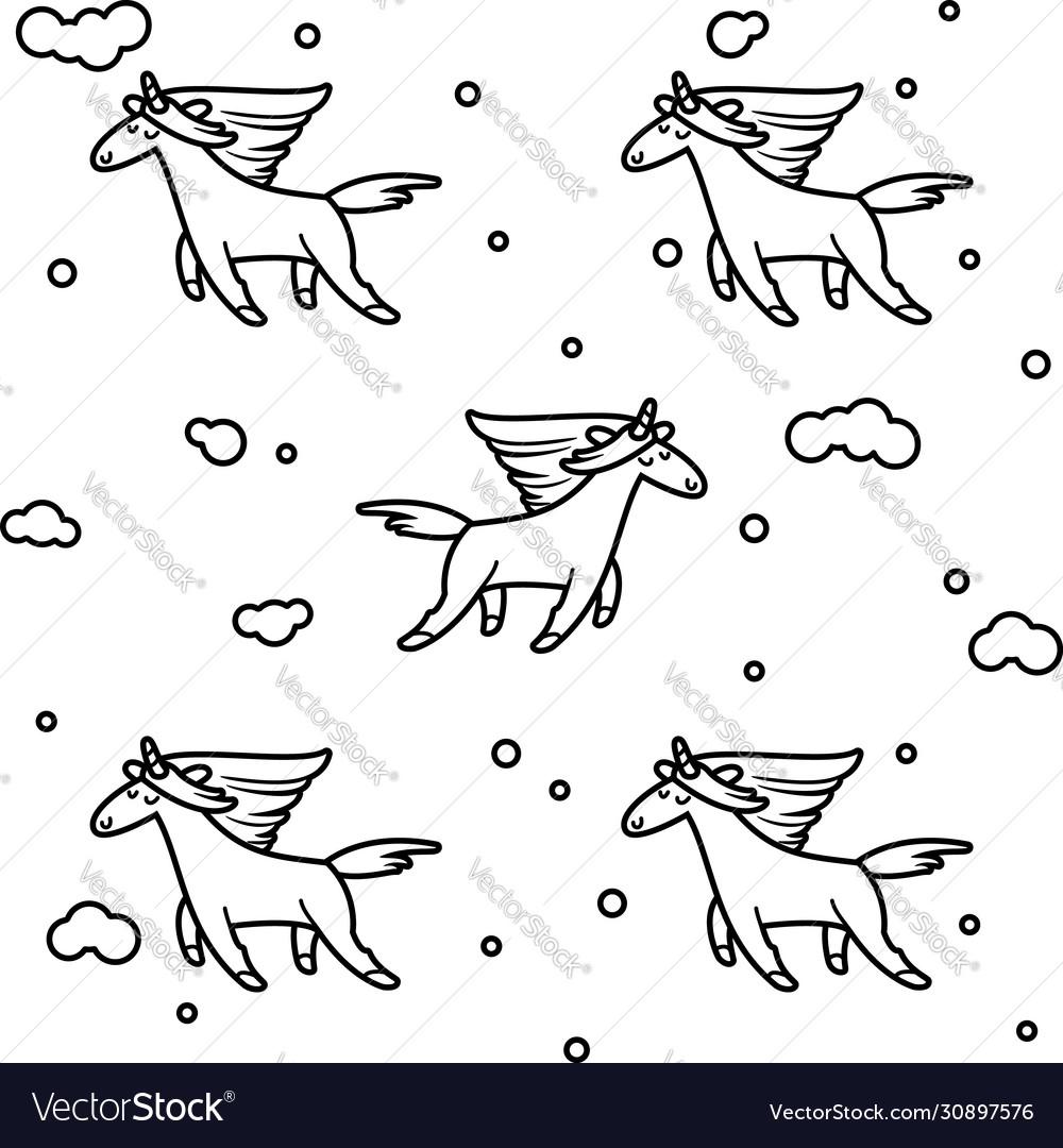 Magic unicorns in clouds seamless pattern
