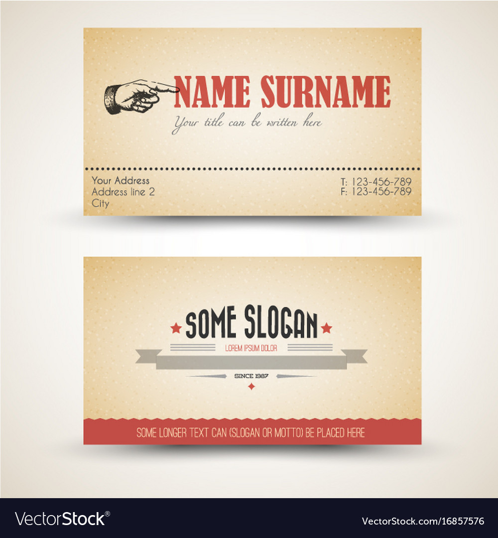 Old Style Retro Vintage Business Card Template Vector Image