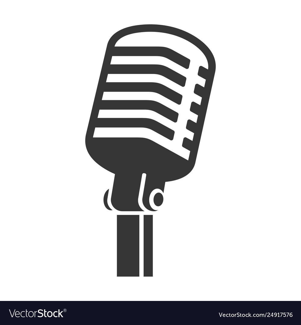 Old style vintage microphone icon on white