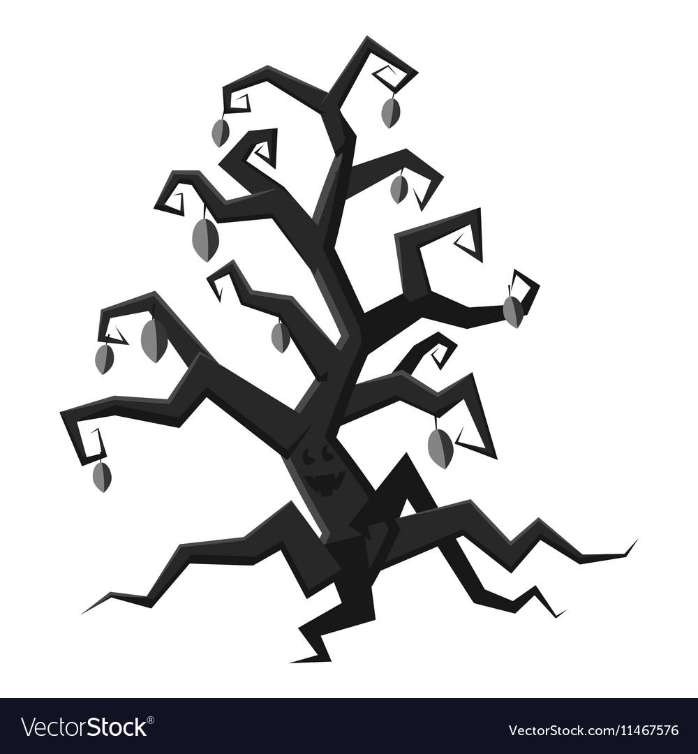 Scary tree icon gray monochrome style vector image