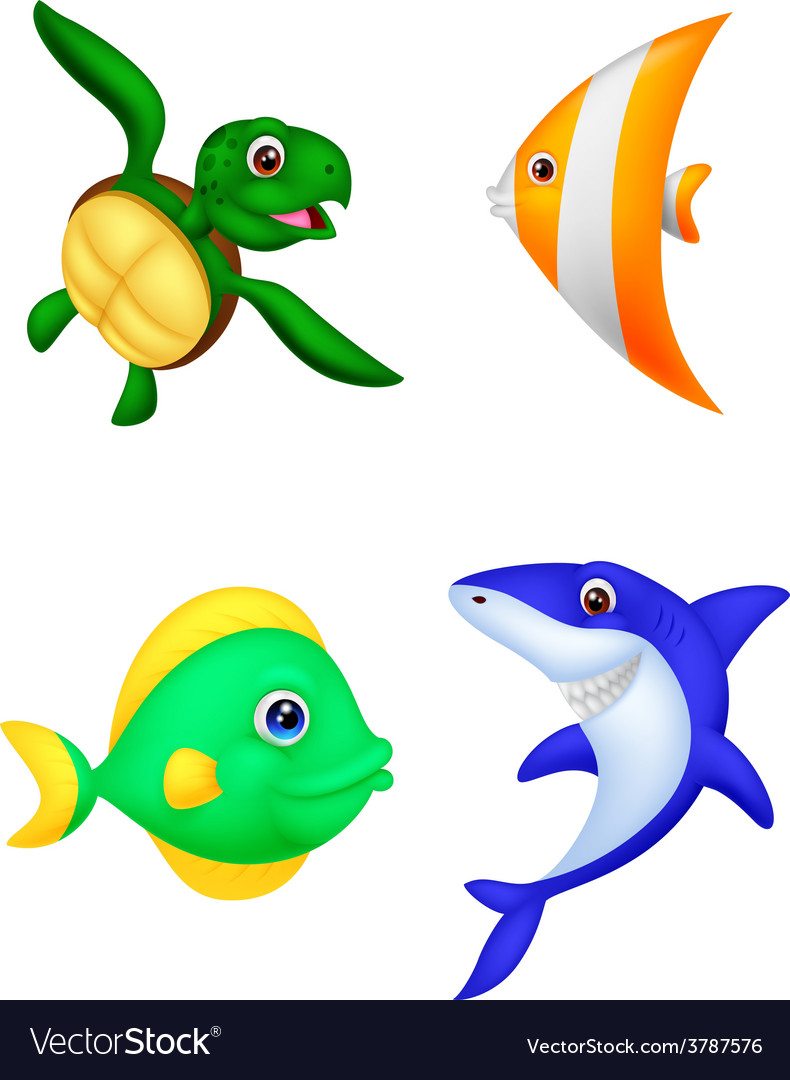 Sea life cartoon set vector image