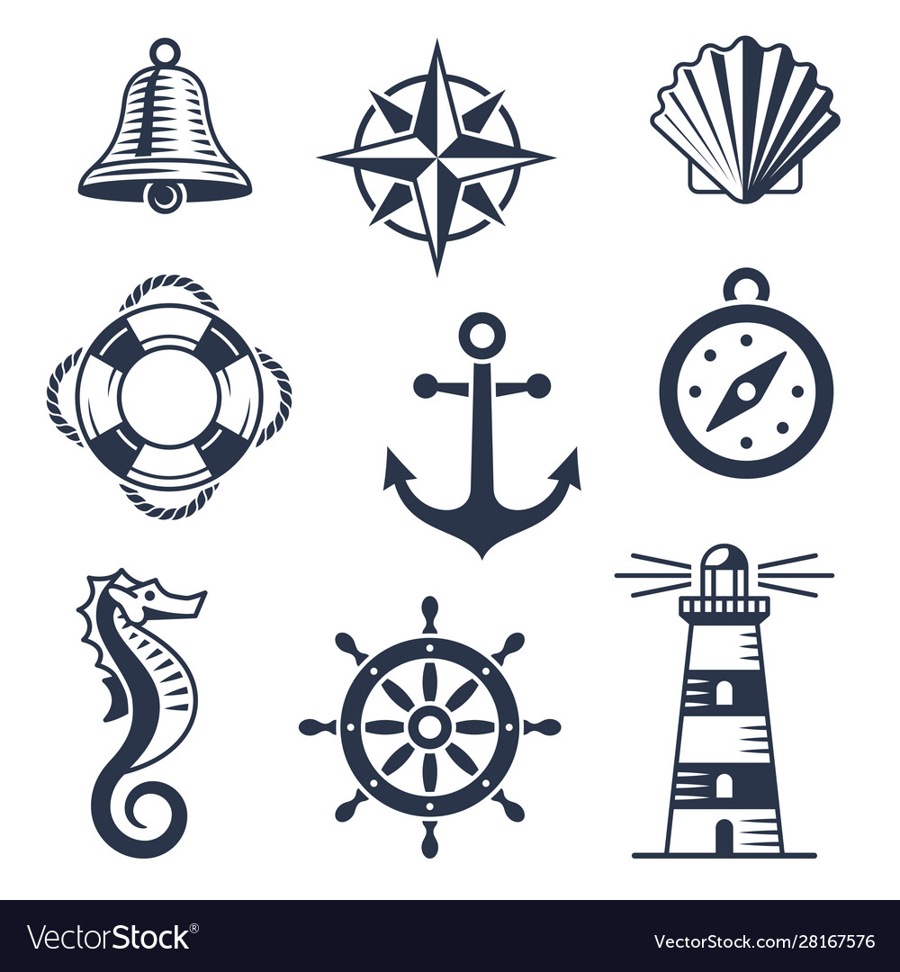 Set marine maritime or nautical icons
