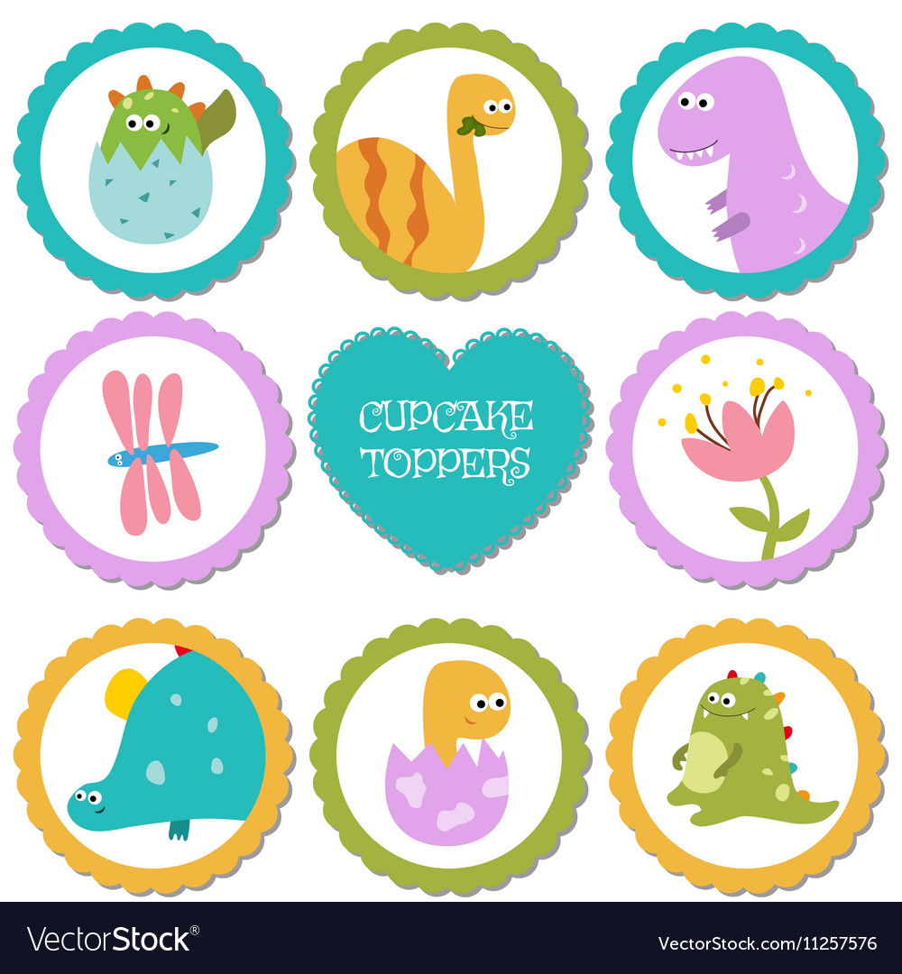 Set of tags with dinosaurs theme