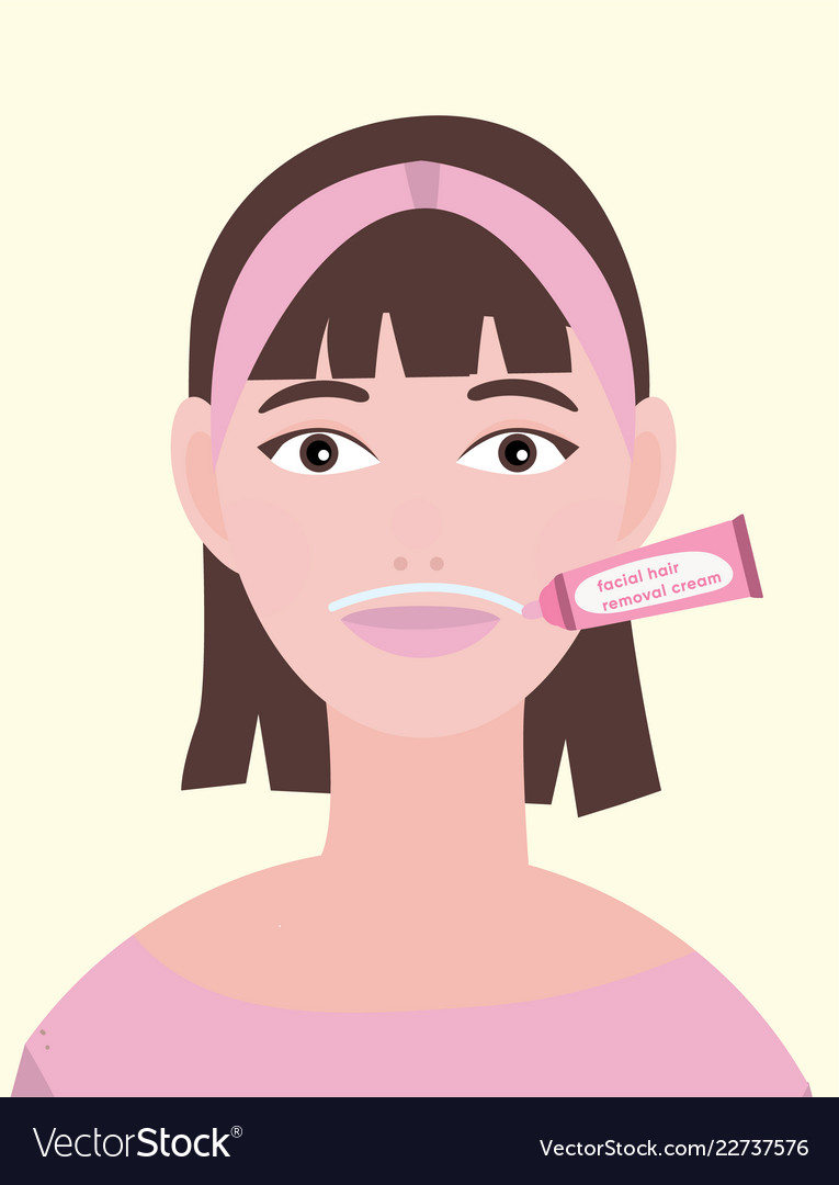 Young Woman Applied Facial Hair Removal Cream Vector Image