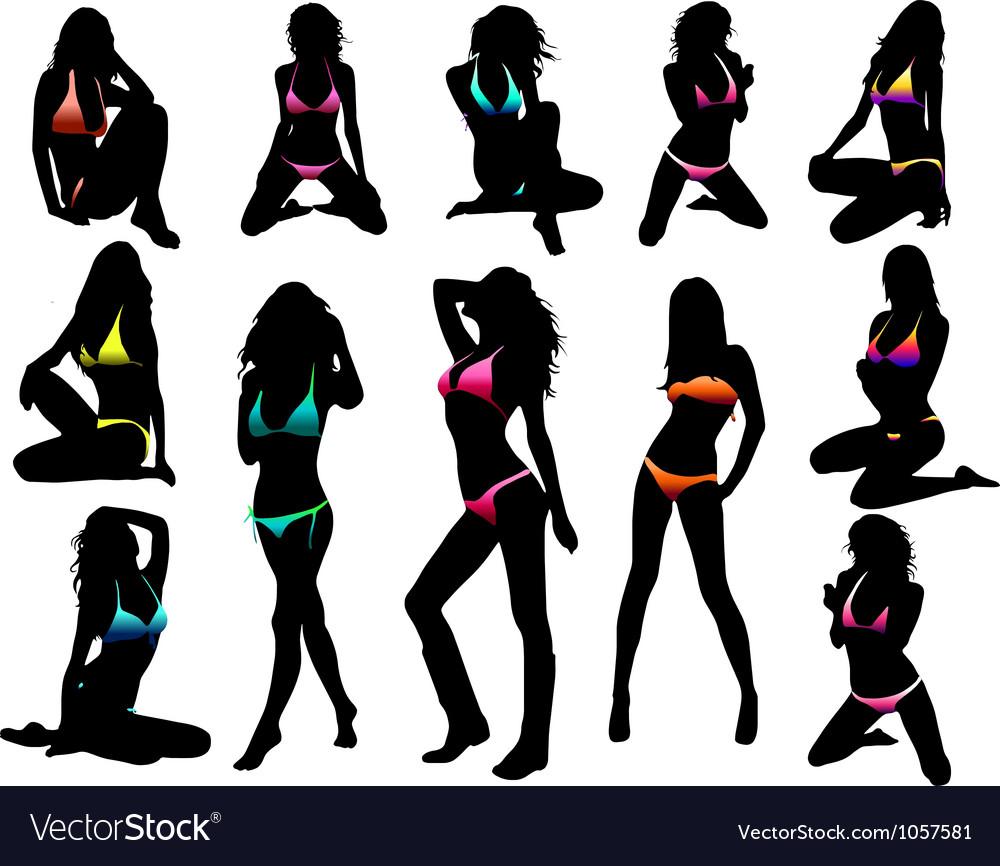 Bikini girls silhouette vector image