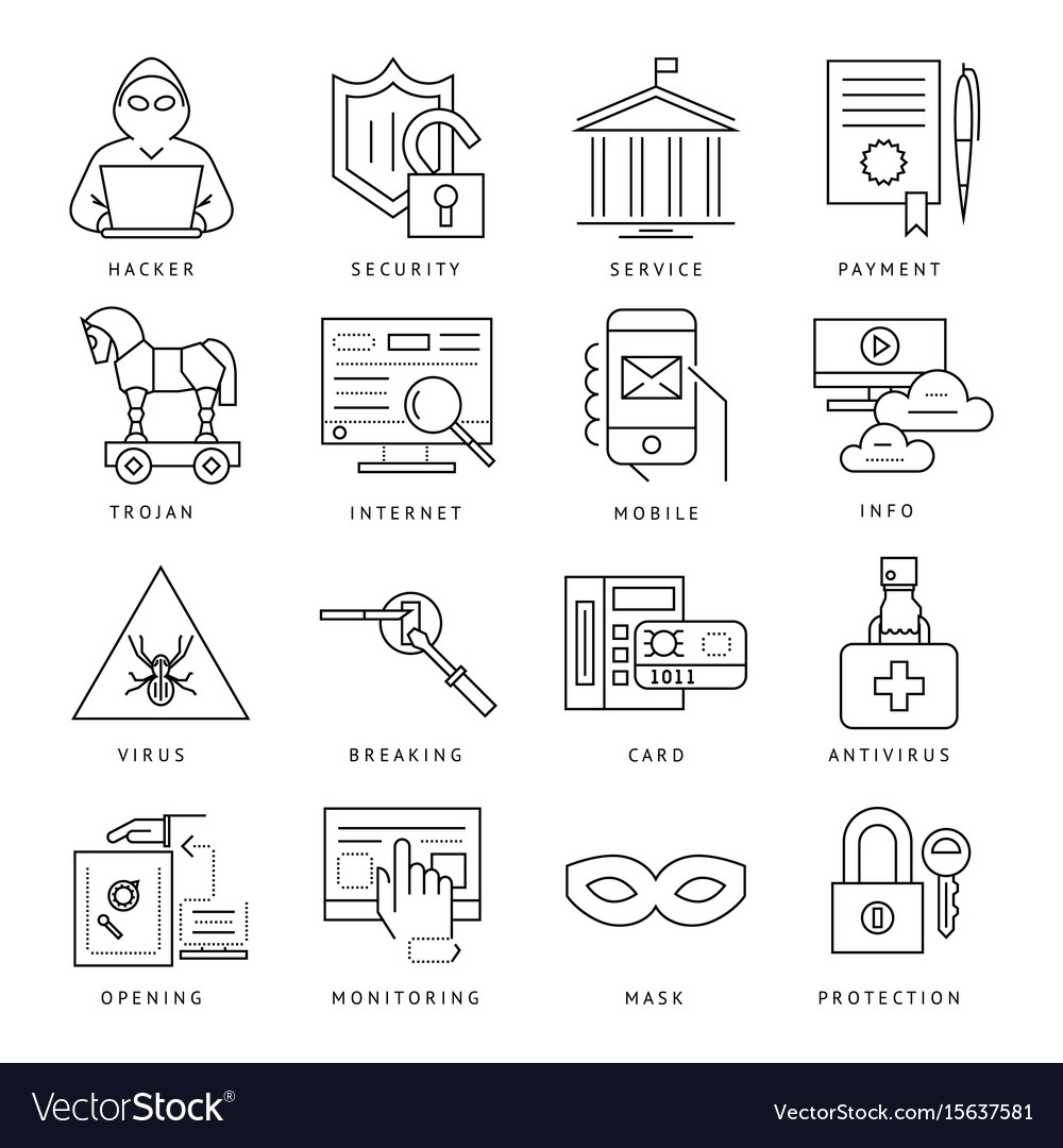 Digital black internet security vector image