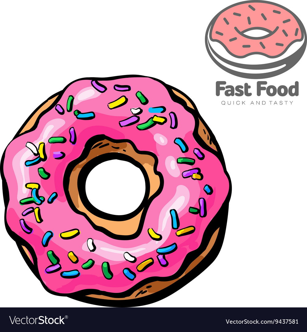 of donut logo  Logo and set the sketch of donut Royalty Free Vector Image