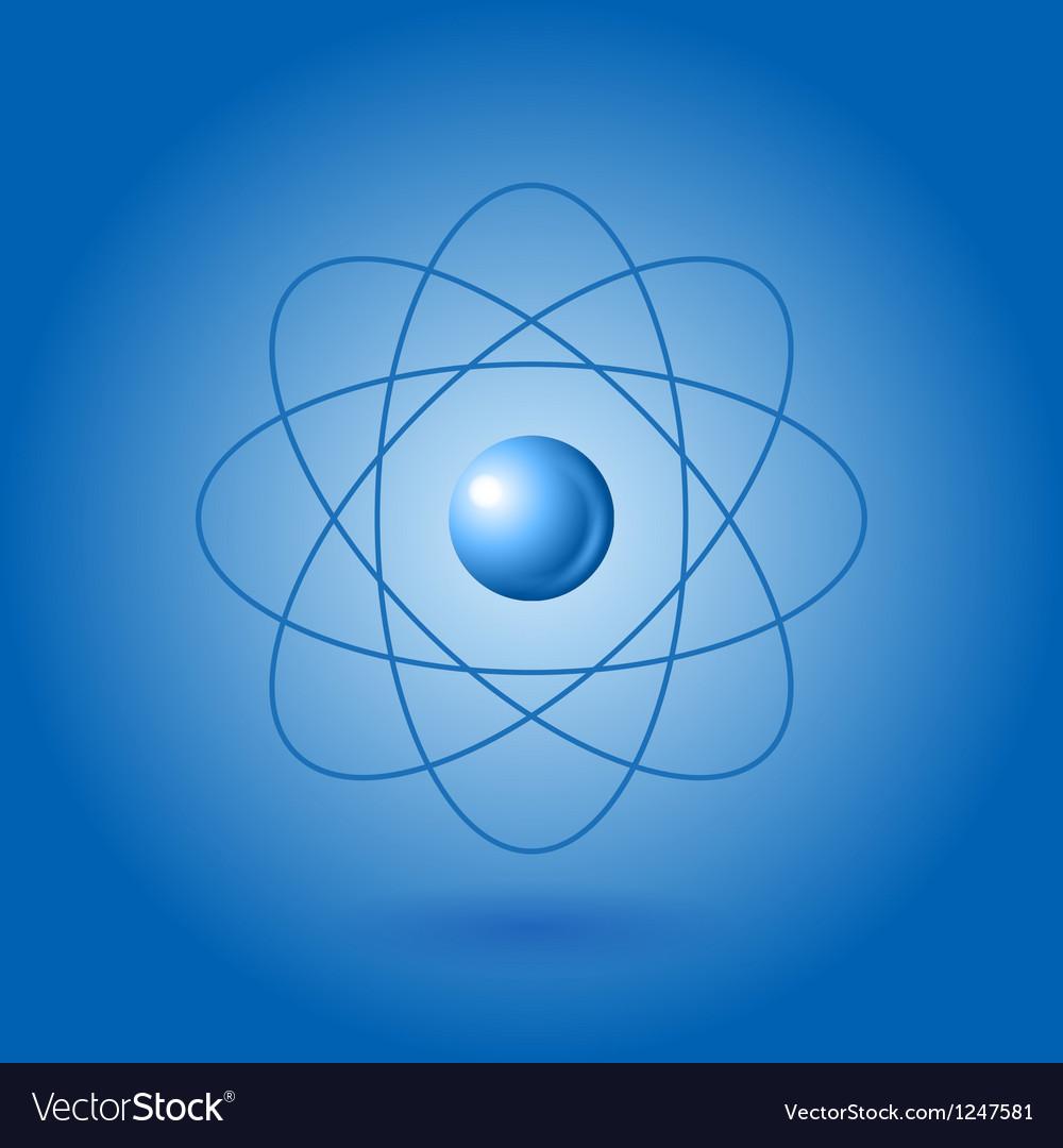Orbital model of atom on blue background