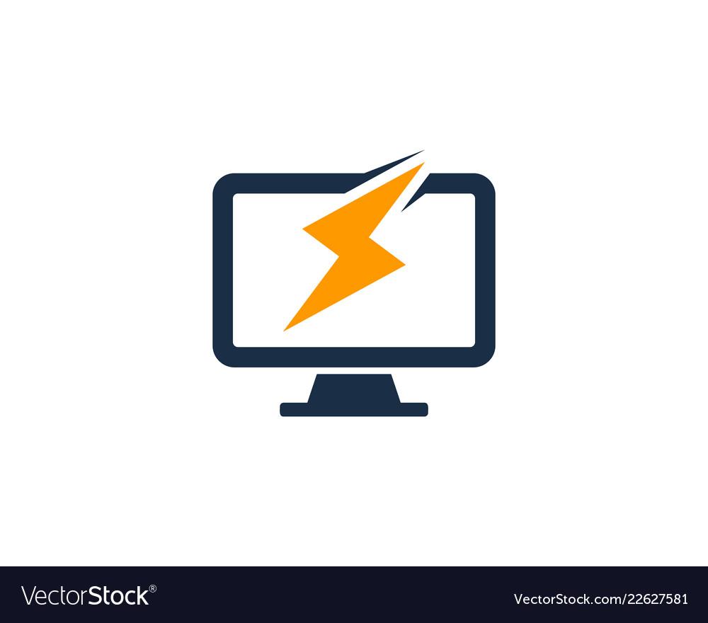 Power computer logo icon design