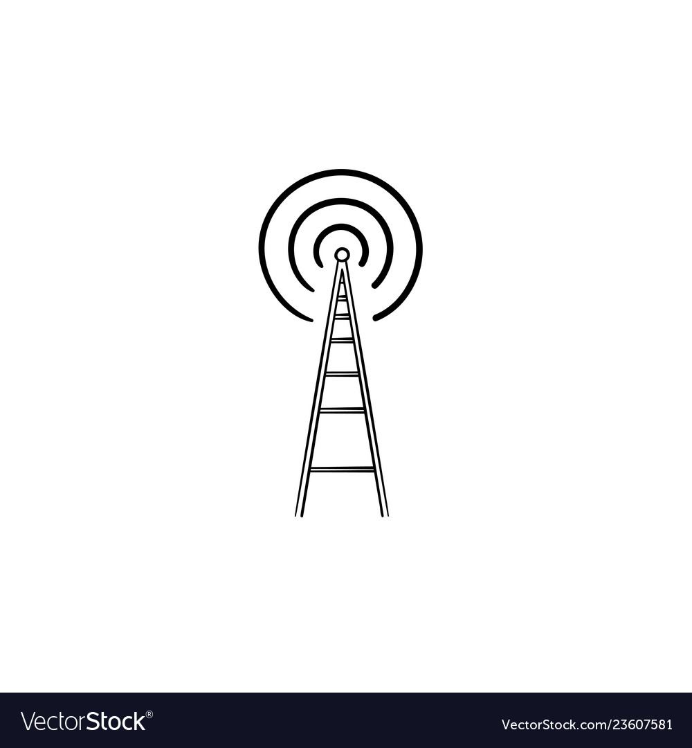 Radio tower hand drawn outline doodle icon