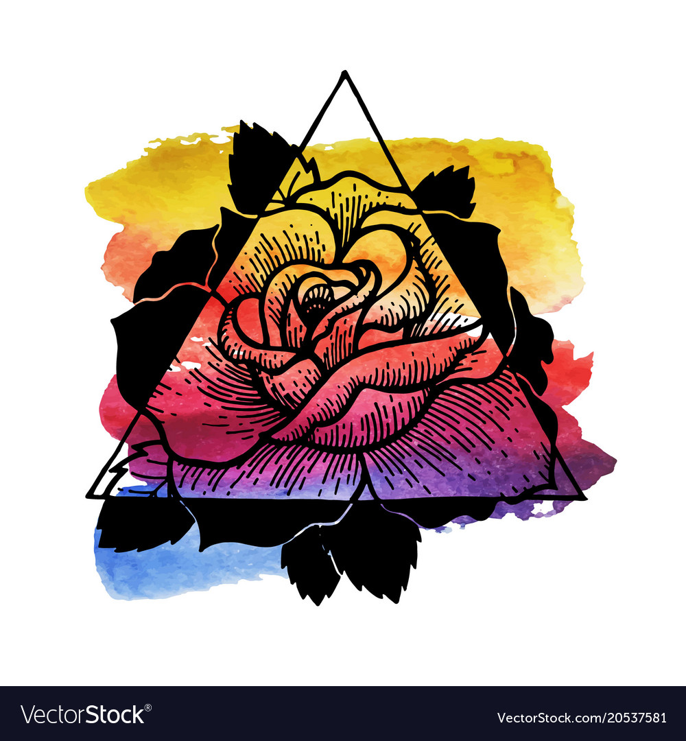 Rose flower with sacred watercolour and geometry