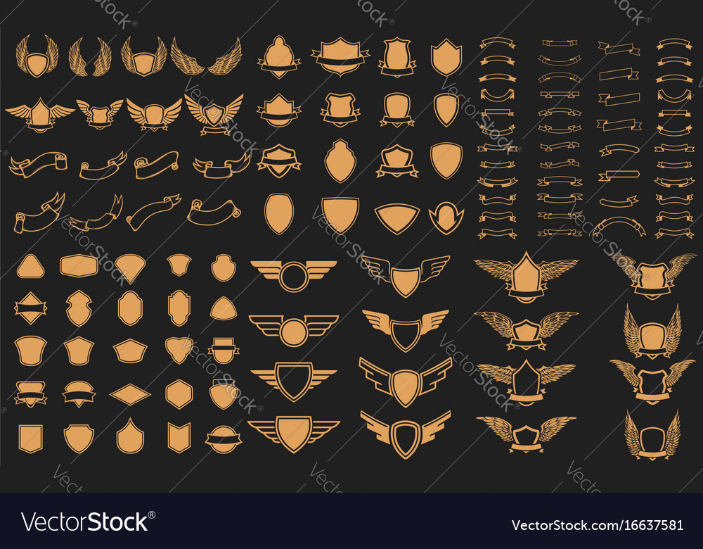 Set of empty emblems ribbons winged emblems