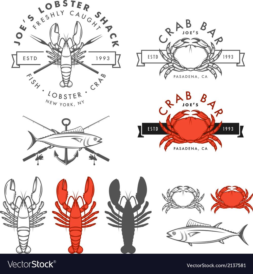 Set of retro seafood design elements vector image