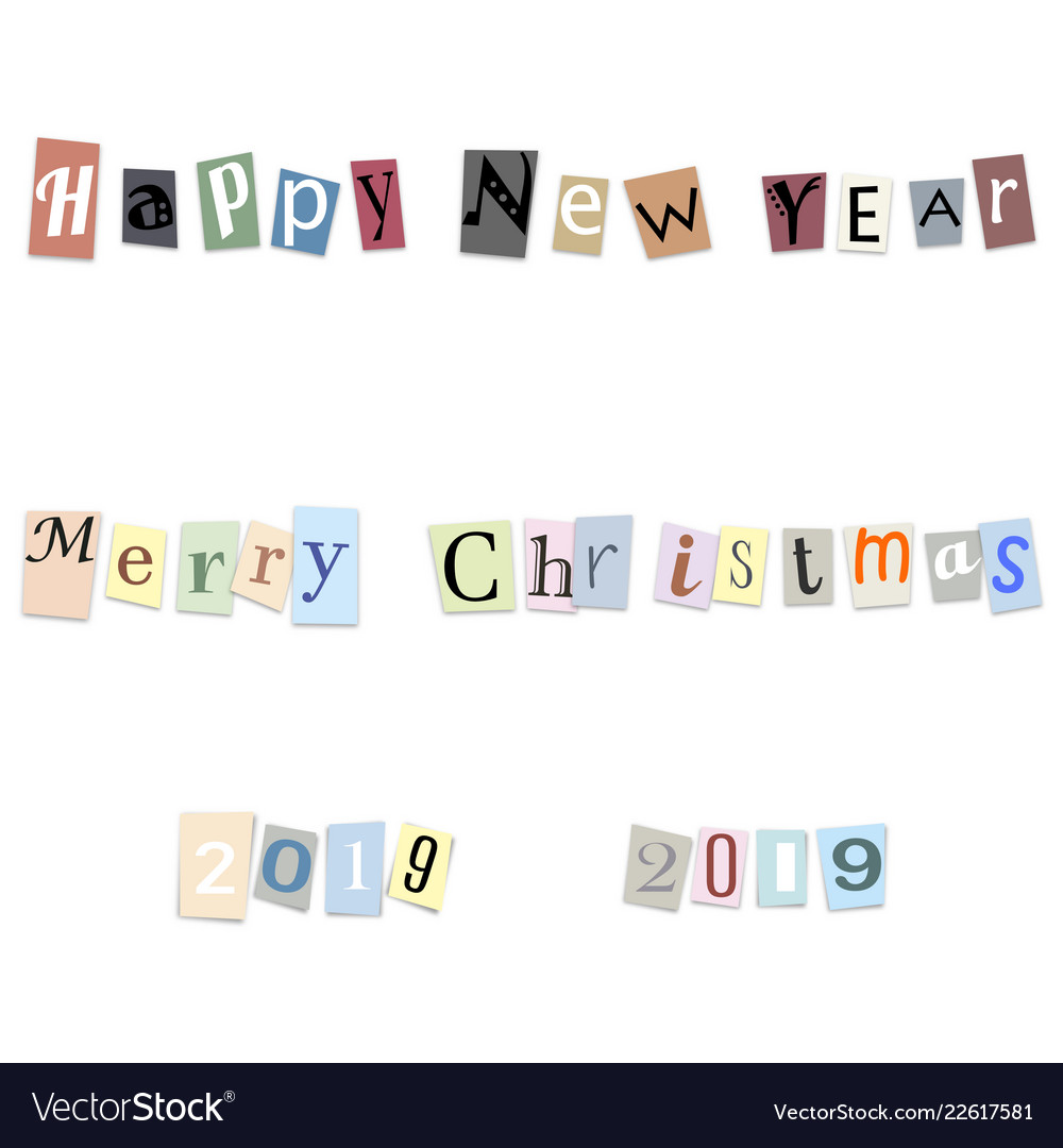 Text happy new year and numbers 2019 from cut