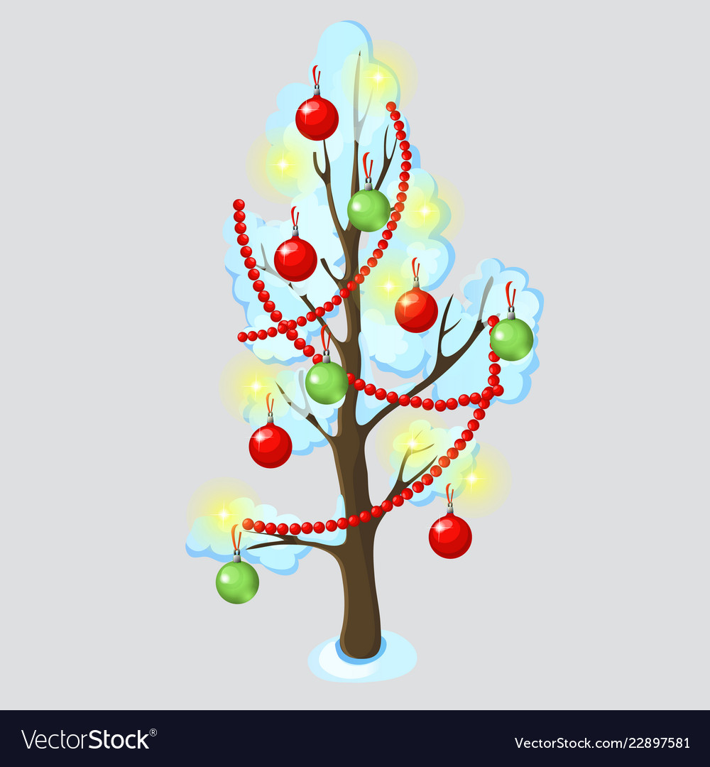 Urban tree decorated with christmas ornaments