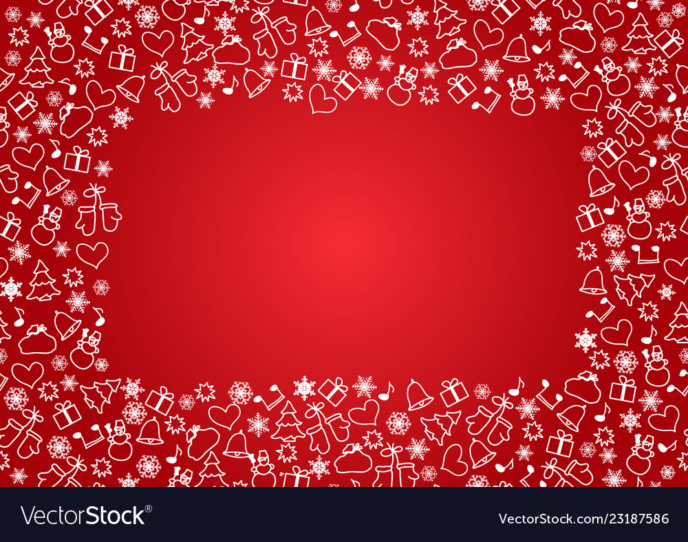 Christmas seamless pattern on red background