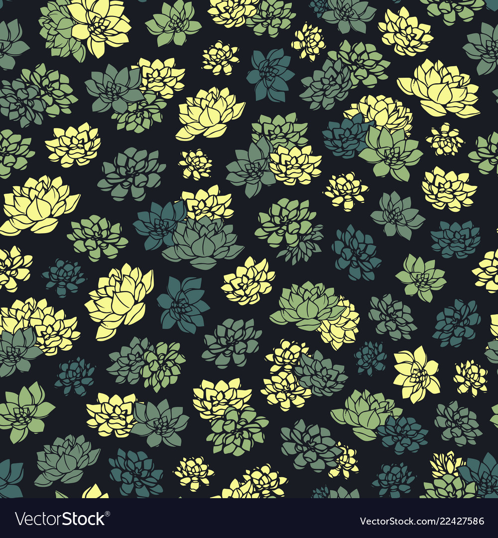 Colorful hand drawn succulents seamless pattern