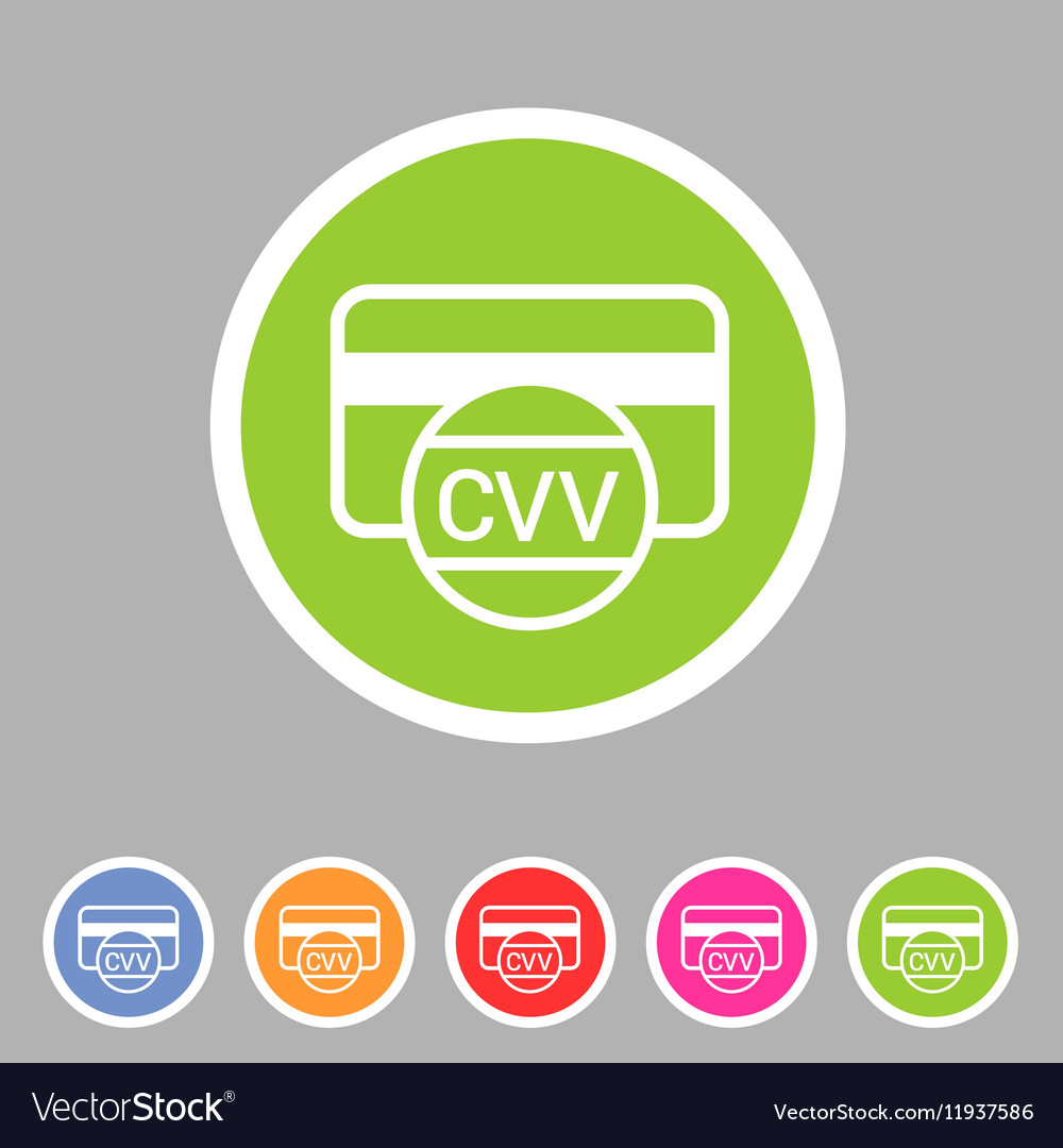 CVV card security code credit icon flat web sign vector image on VectorStock