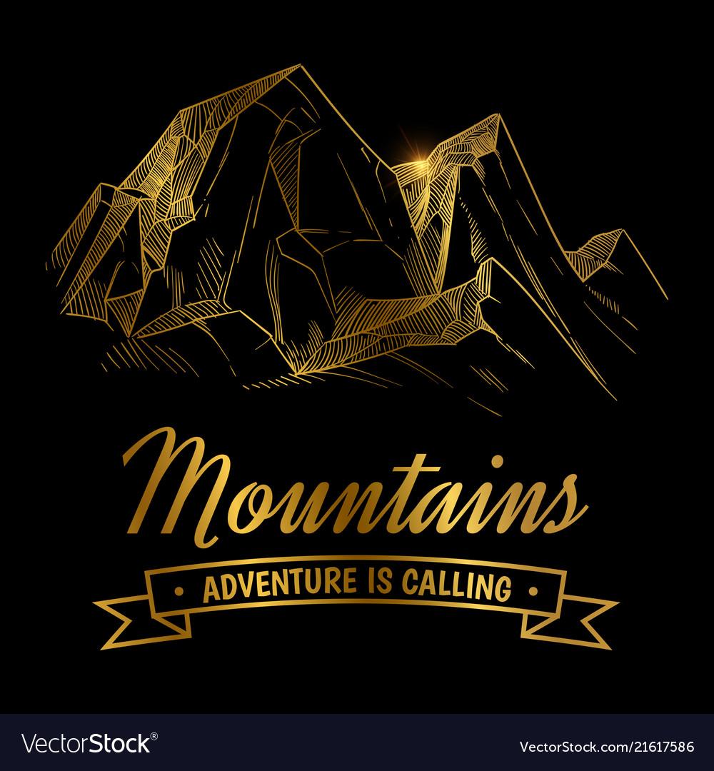 Golden mountains adventures emblem design hand