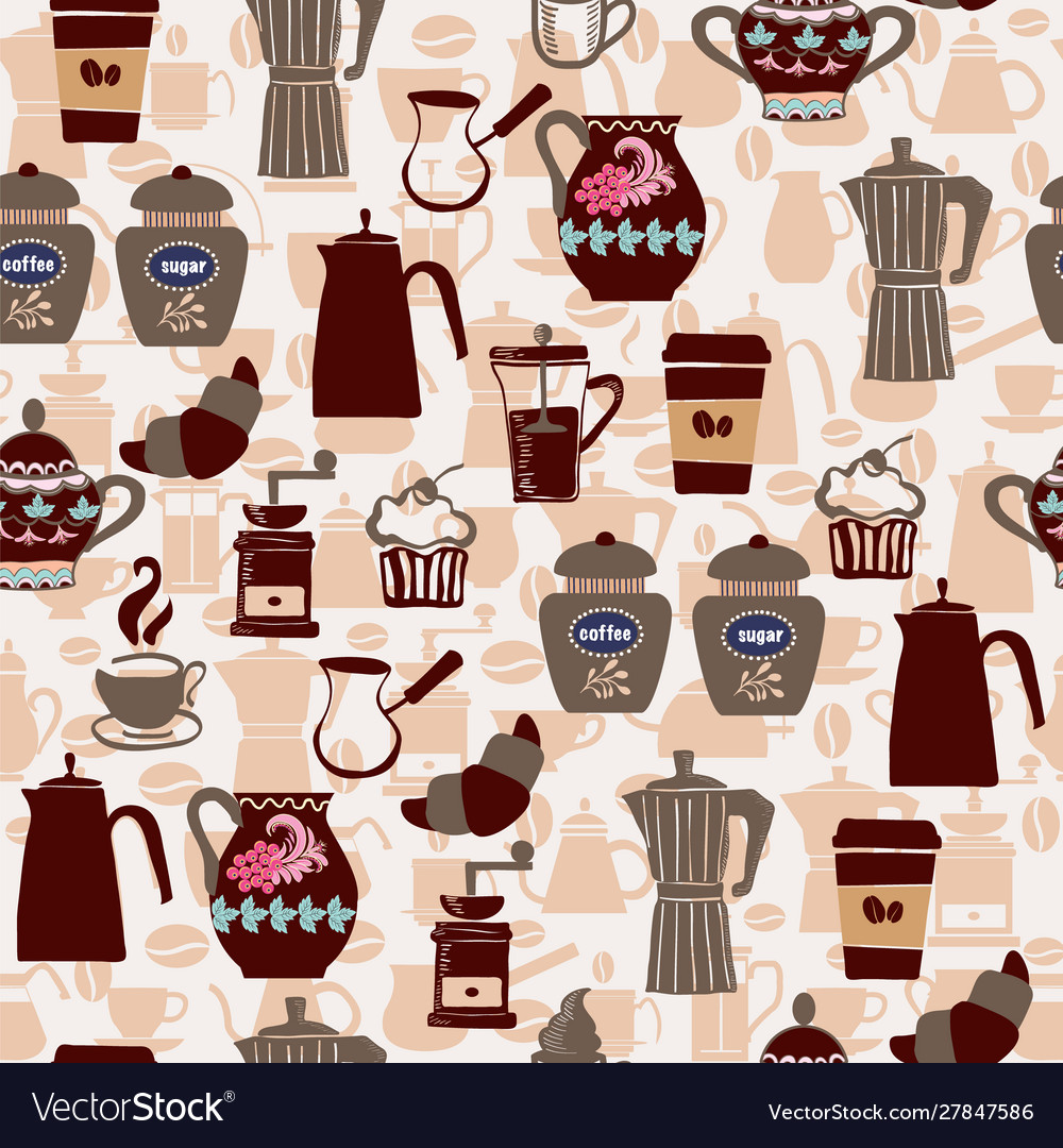 Hand-drawn collection seamless pattern coffee