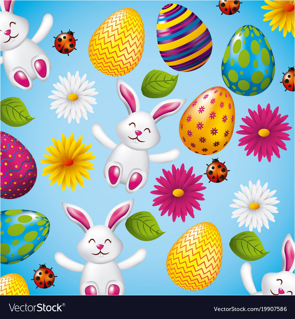 Pattern decorative bunnies eggs and flower easter