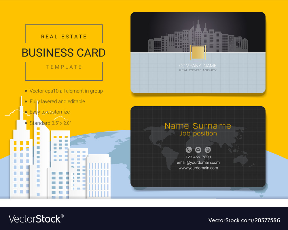real estate business card or name card template vector image - Real Estate Business Card