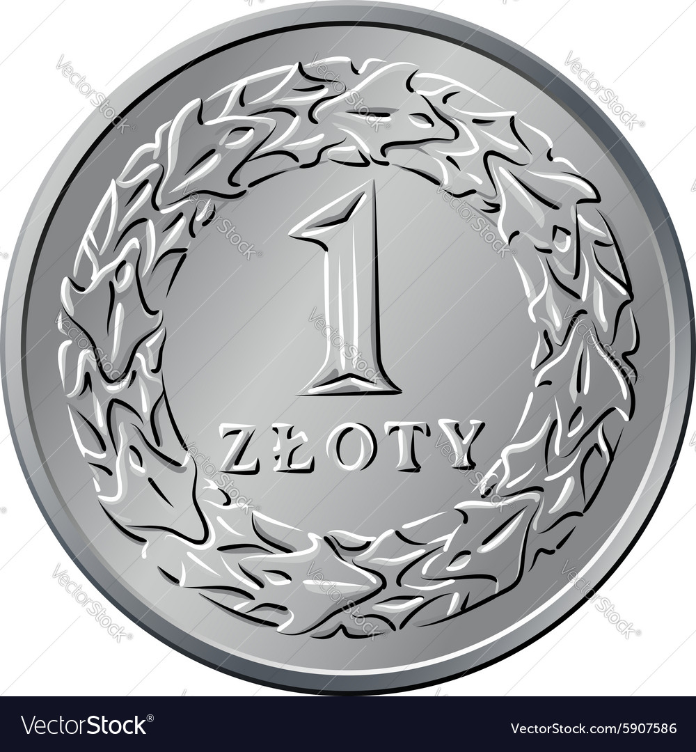 Reverse Polish Money one zloty coin vector image