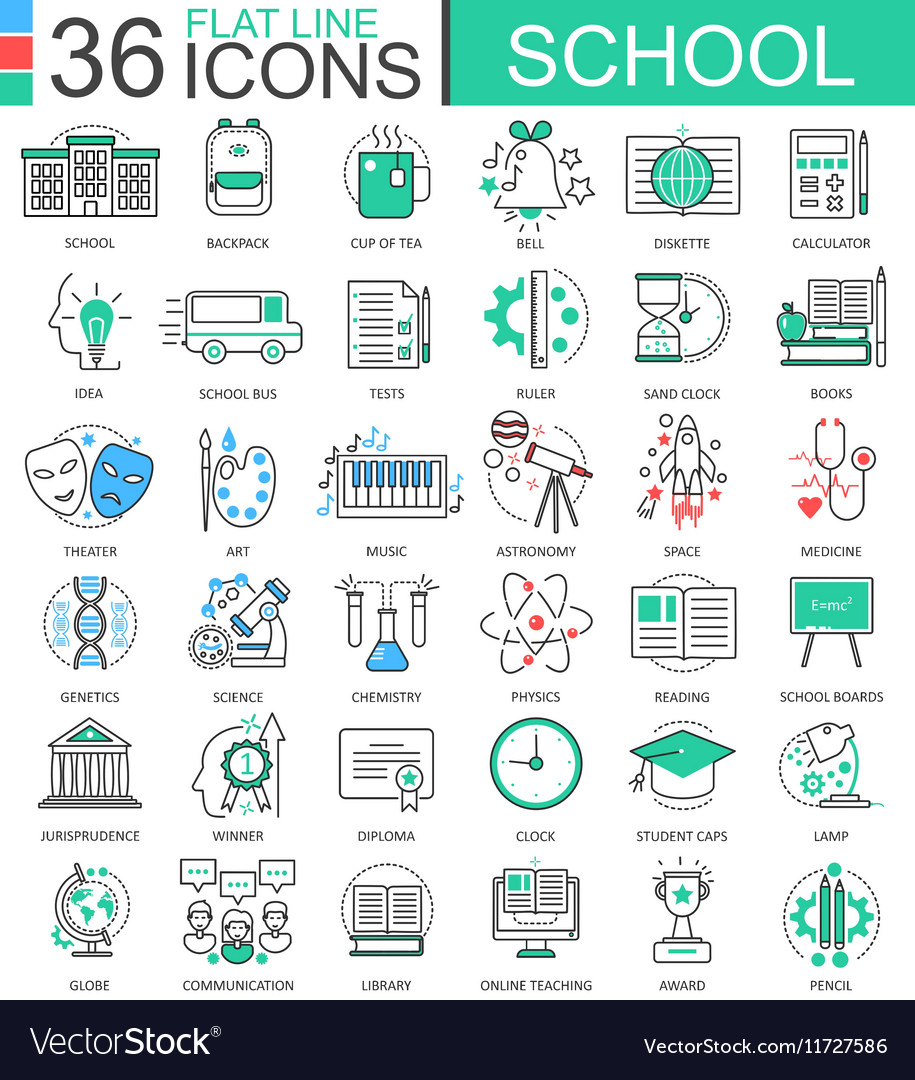 School color flat line outline icons for