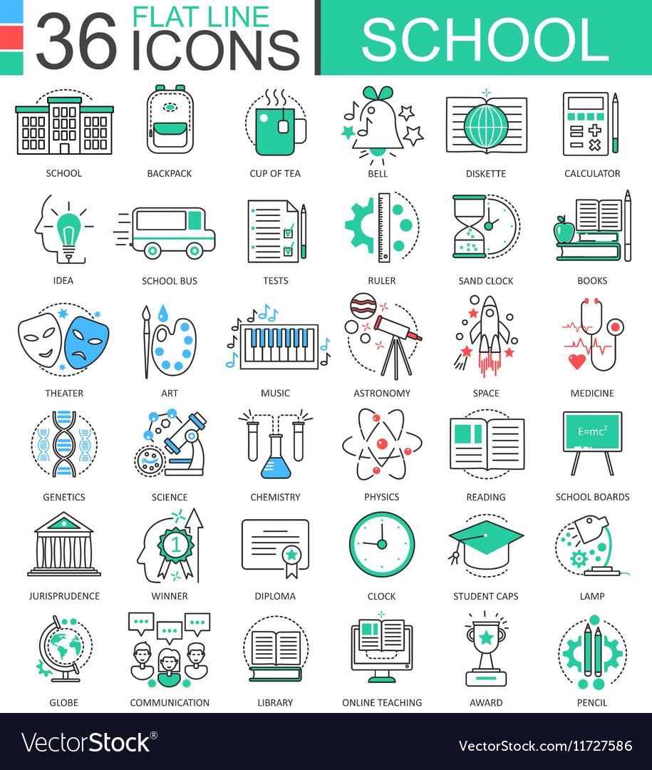 School color flat line outline icons