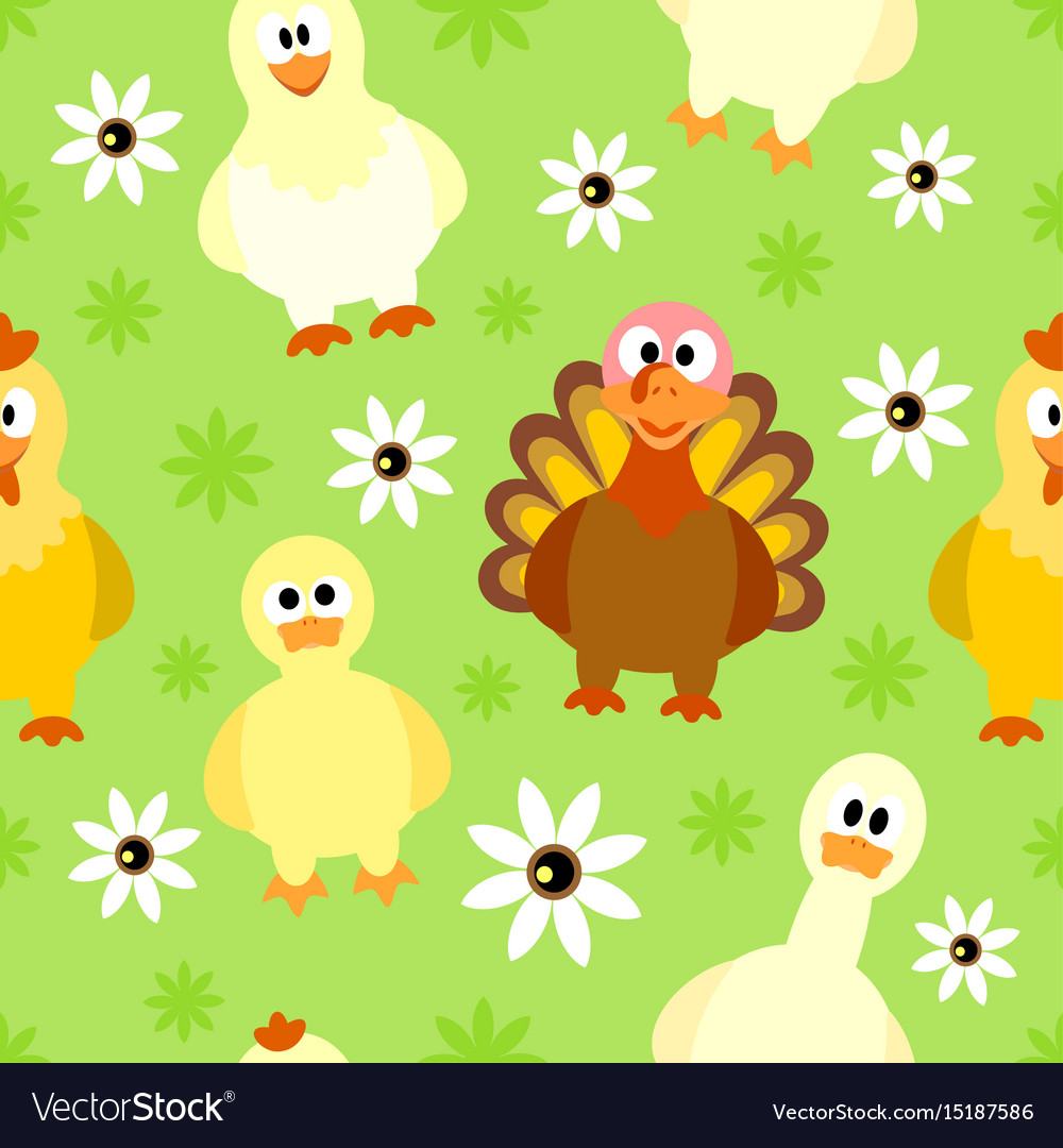Seamless background with funny birds vector image