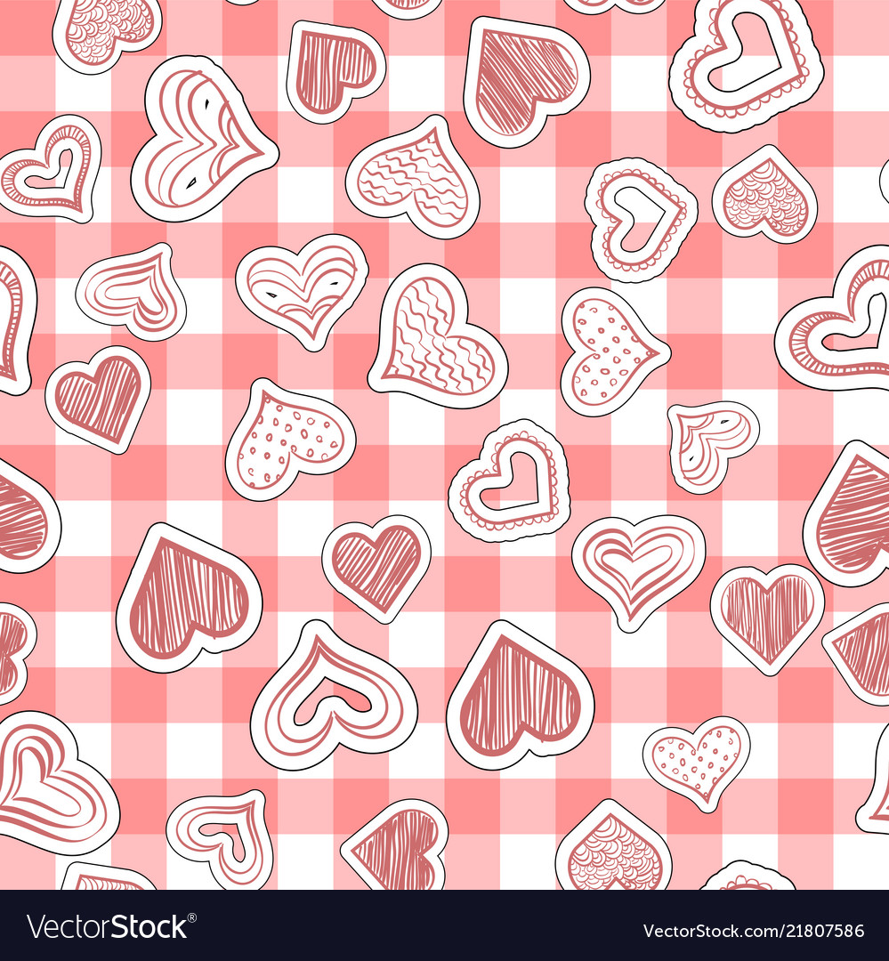 Seamless heart pattern on paper texture