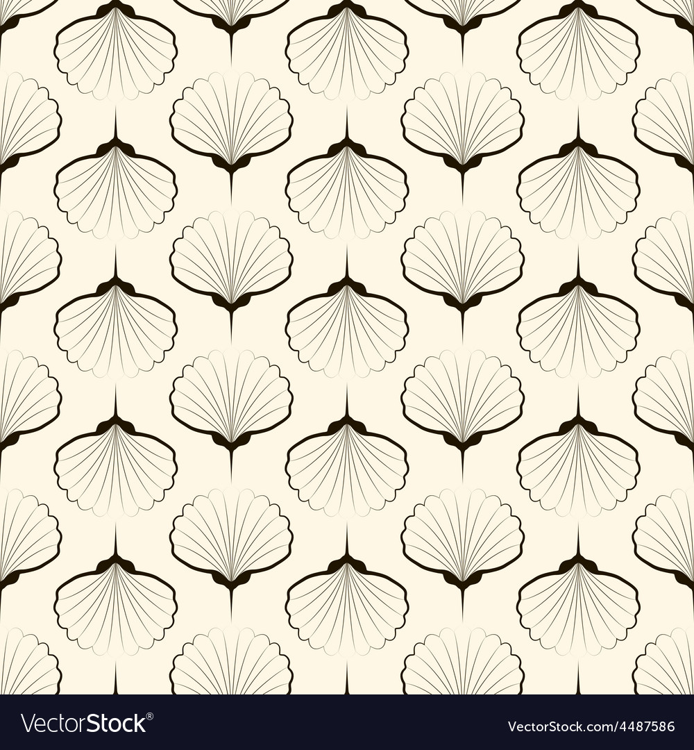 Seamless pattern graphic ornament sea shells