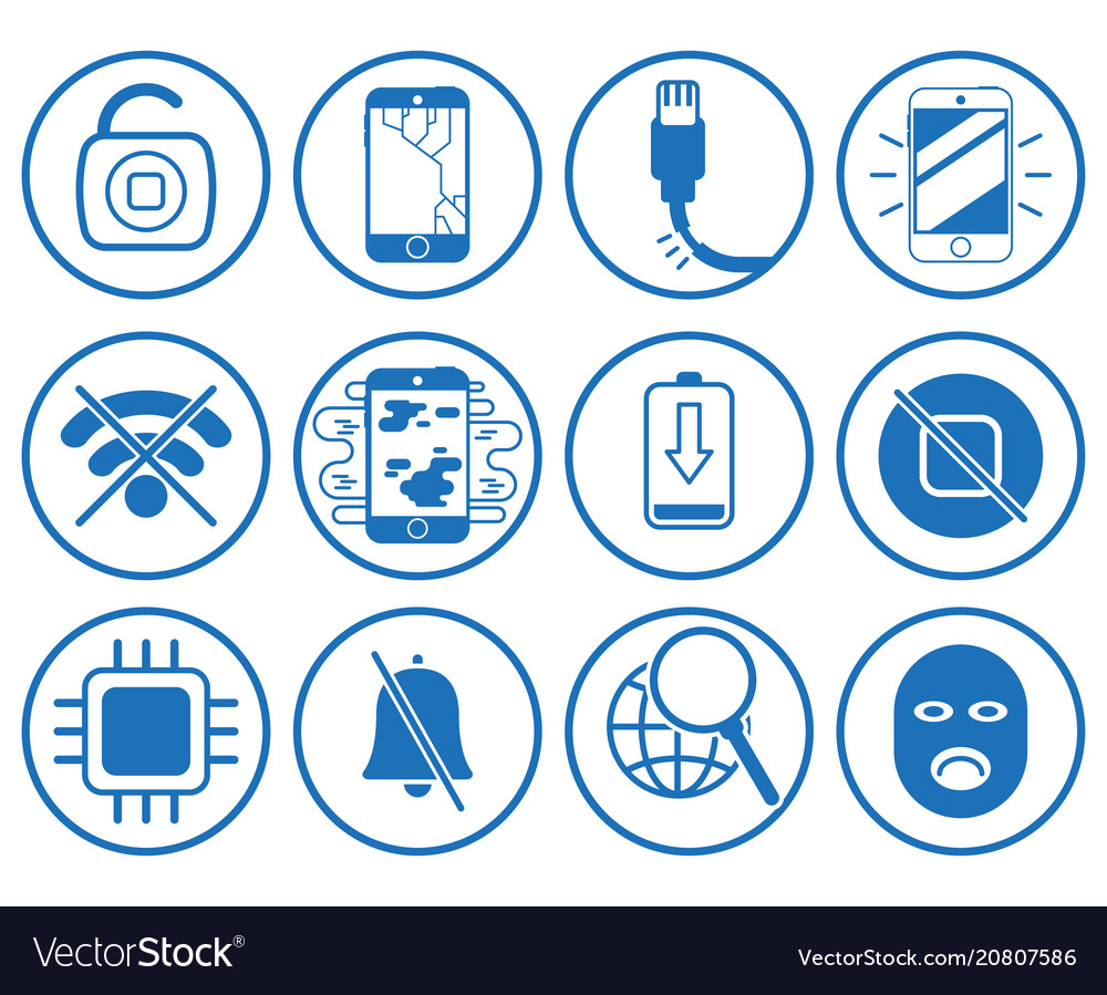 Set with repair smartphone icons