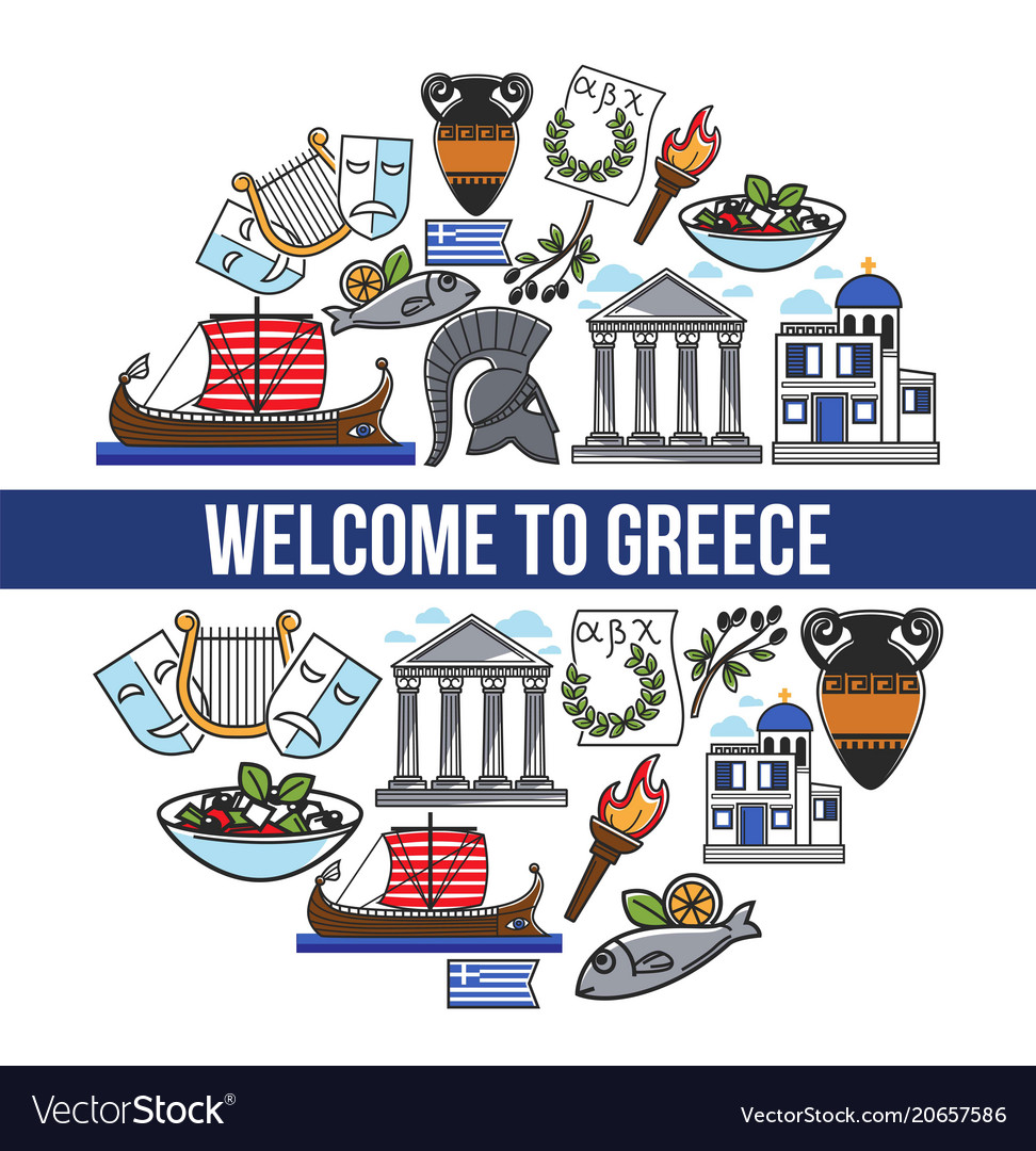 Welcome to greece promotional poster with national