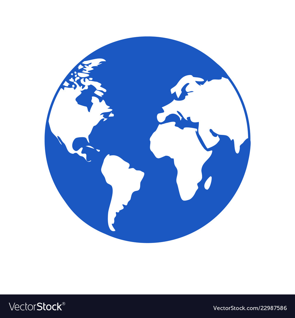 World icon blue globe with white continents Vector Image