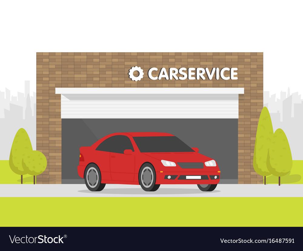 Automobile repair shop garage the car on