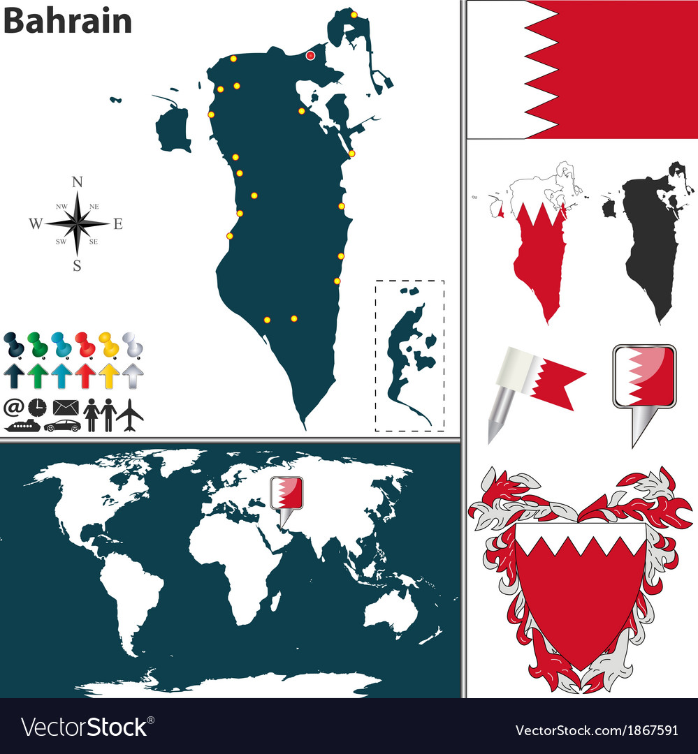 Bahrain map world royalty free vector image vectorstock bahrain map world vector image gumiabroncs