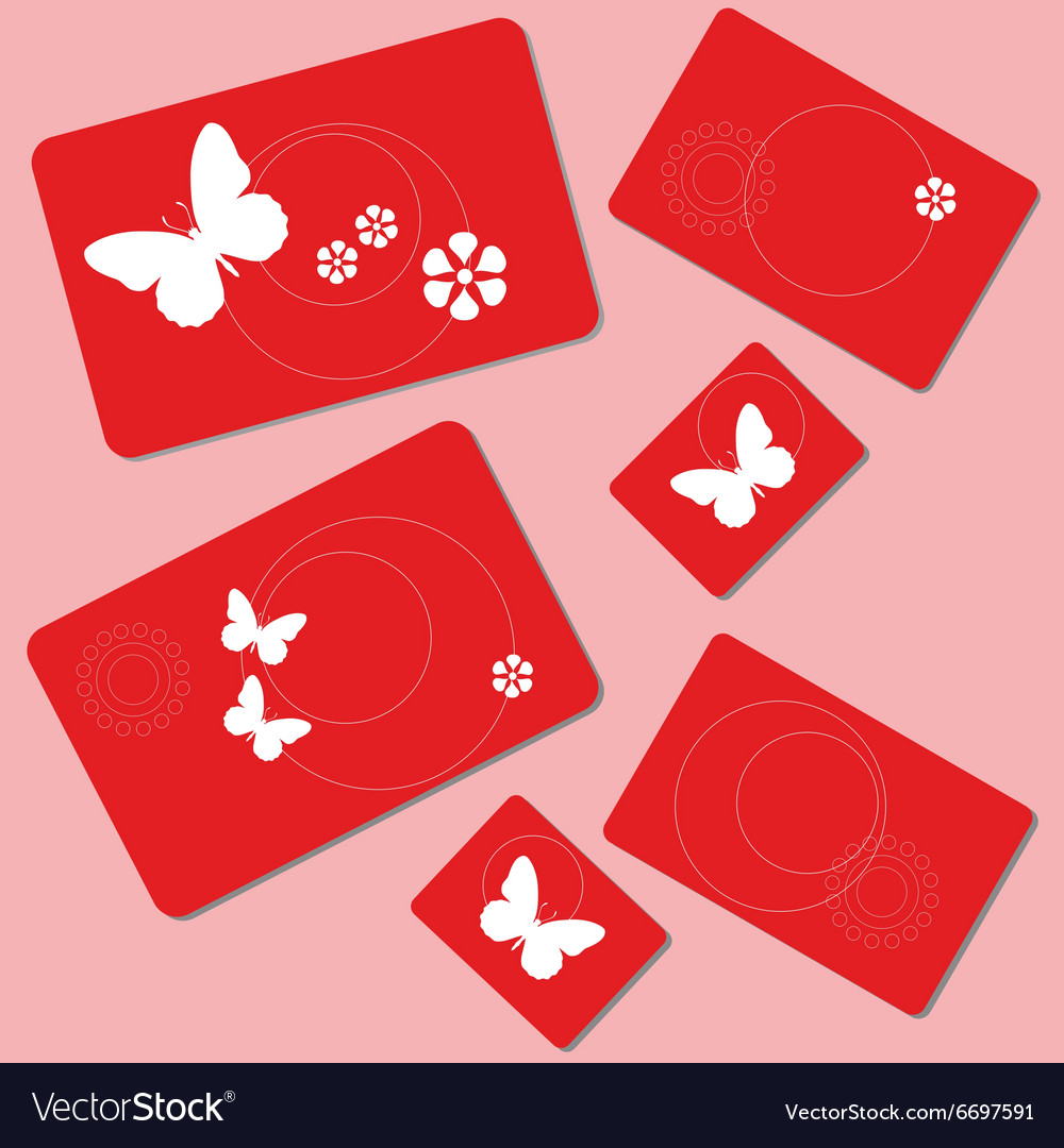Butterfly and flowers rectangle design 002