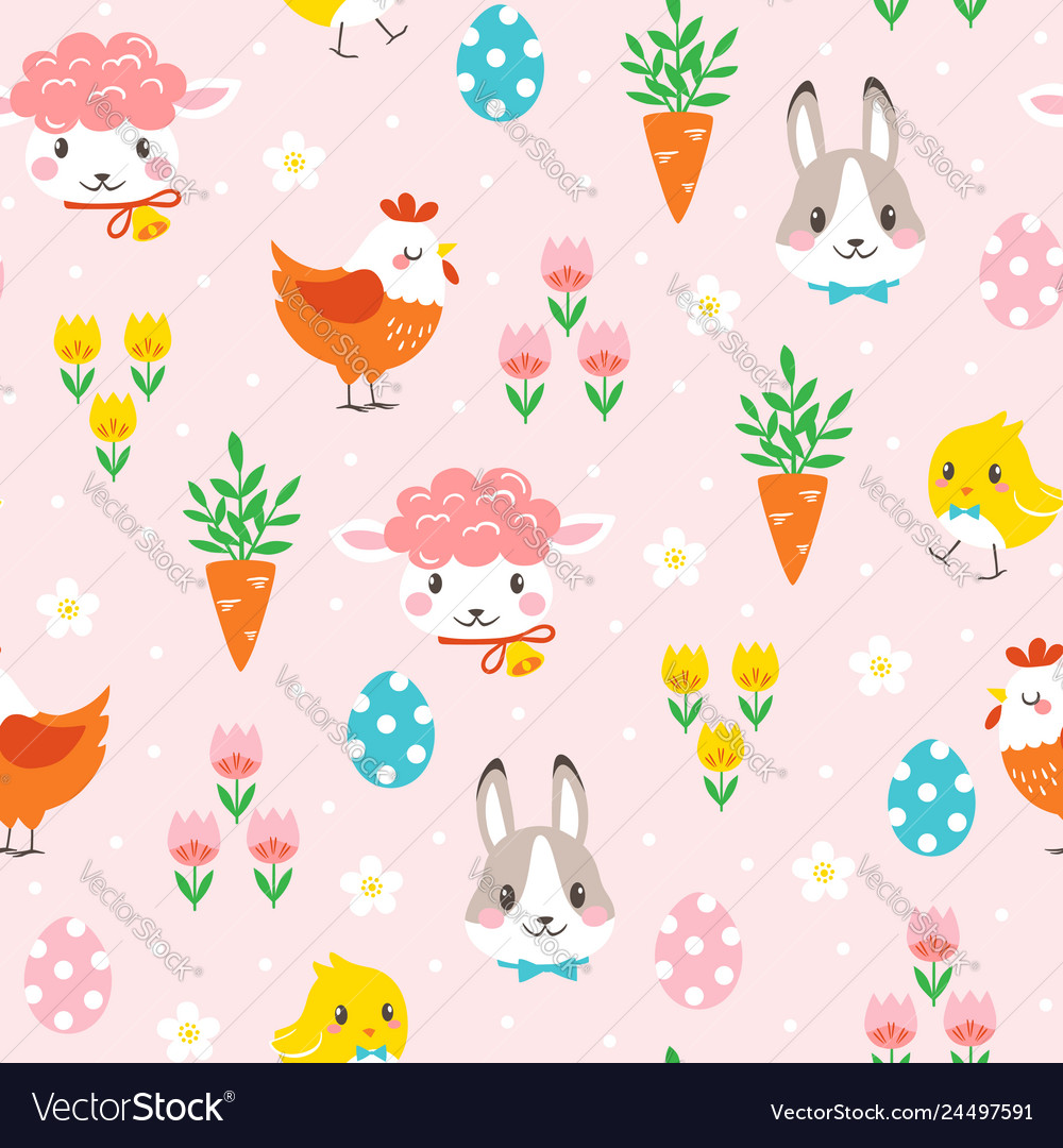 Children easter pattern with cute cartoon