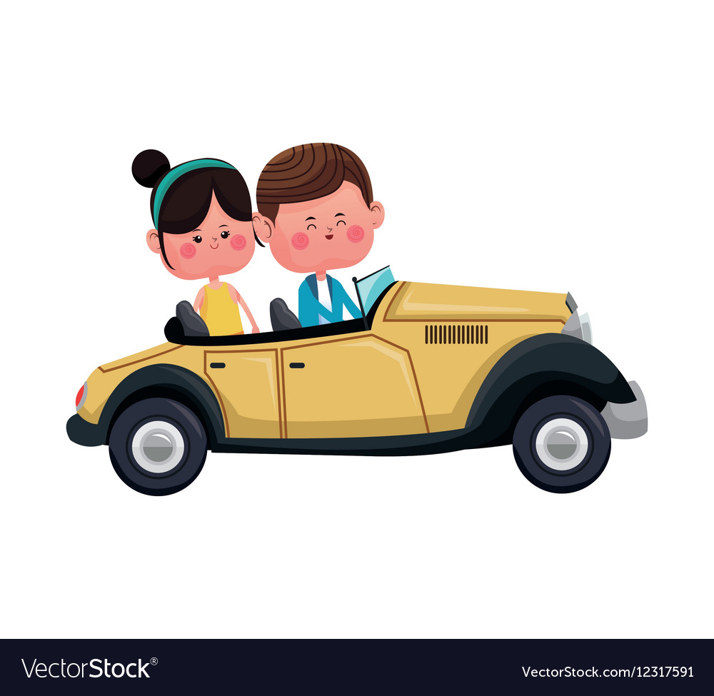 Couple traveling classic car lovely vector image