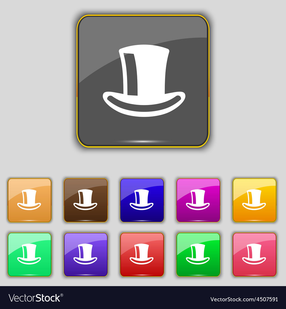 Cylinder hat icon sign Set with eleven colored vector image