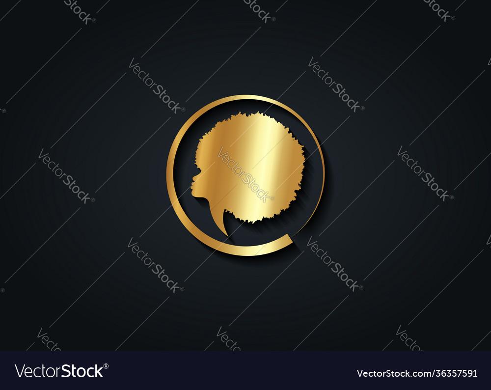 Gold luxury african woman round logo design