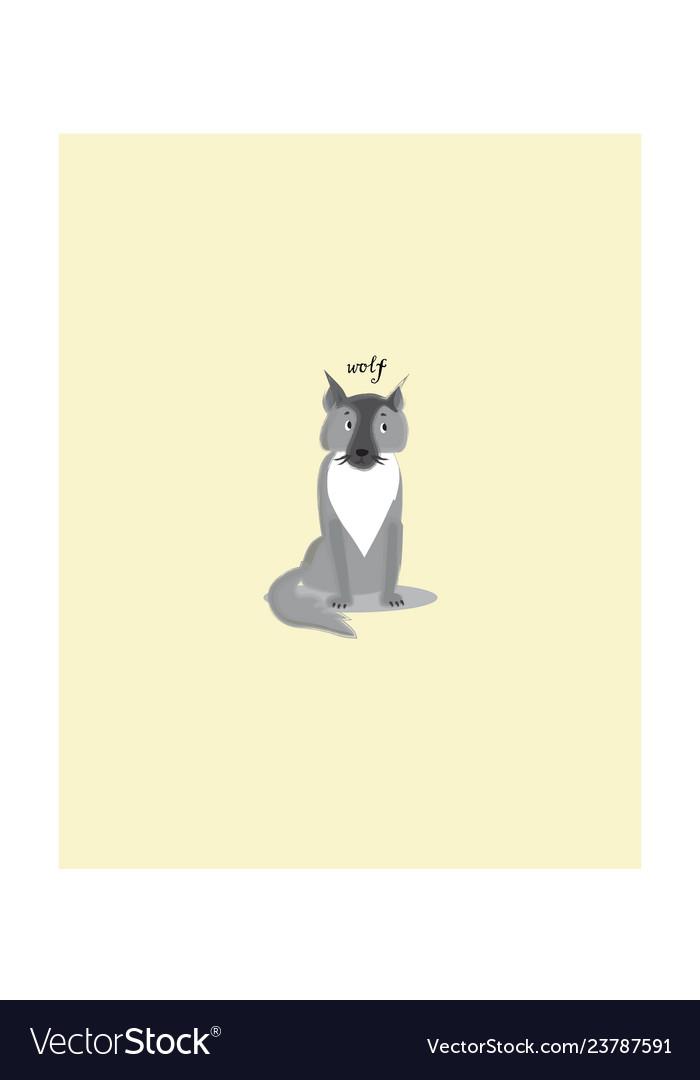 Gray sitting wolf cartoon character