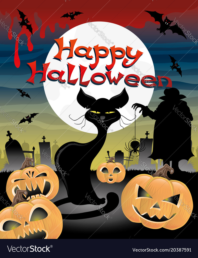 Halloween night at the cemetery vector image